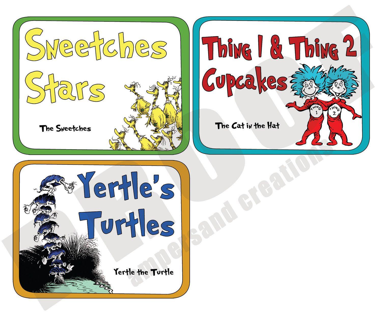 Dr. Seuss - Theme Food Label Set. $10.00, via Etsy.