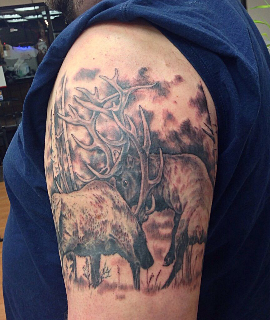 Elk fighting by Holy Roller Tattoo (finished)