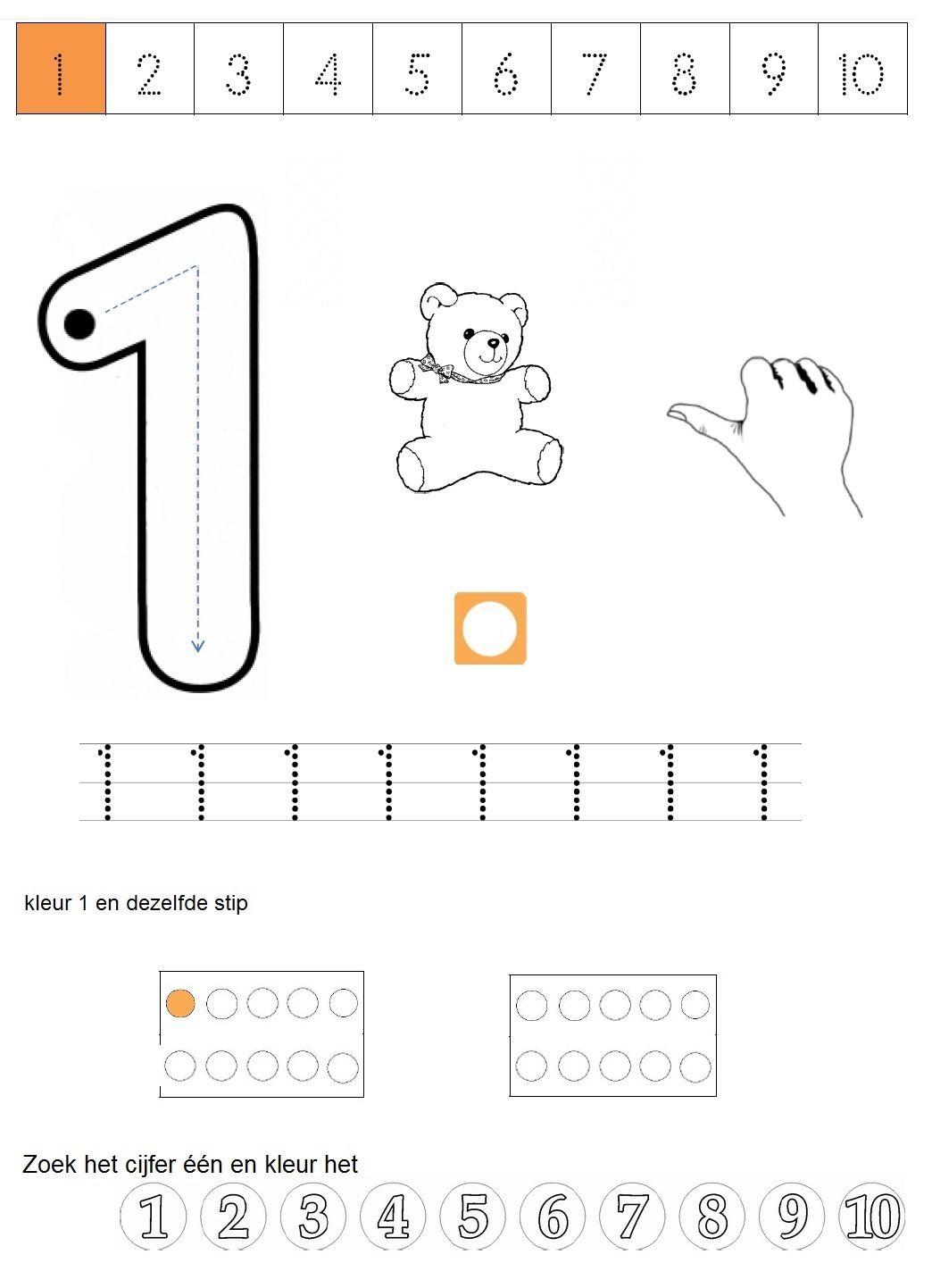 werkblad cijfer 1 | Matemática | Pinterest | Mathe, Vorschule und Zahlen
