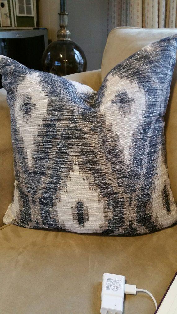 Best Navy Blue White Taupe Chevron Pillow With Silver Metallic 640 x 480