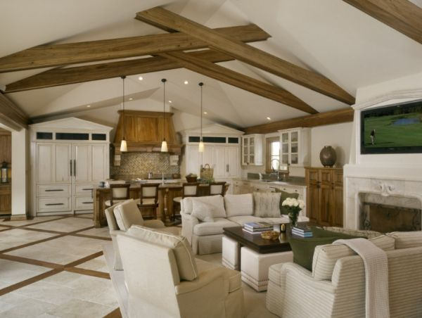 Beautiful Interiors That Feature Exposed Wooden Beams Vaulted Ceiling Living Room Beams Living Room Family Room Design