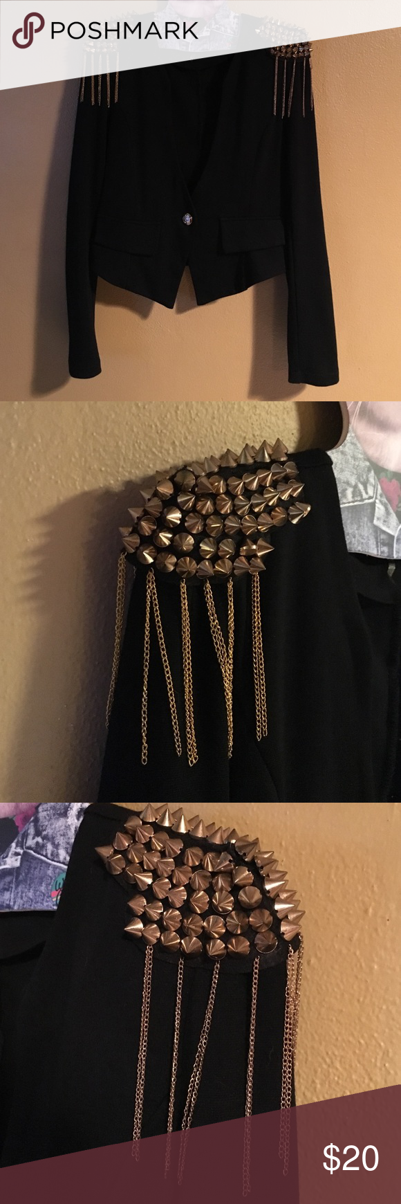 Black studded blazer Black blazer with gold spiked shoulders. Worn a handful of times. No spikes are missing. Great condition. Size small. XTaren Jackets & Coats Blazers