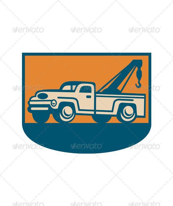 Vintage Tow Wrecker Pick Up Truck Retro Illustration Towing Trucks