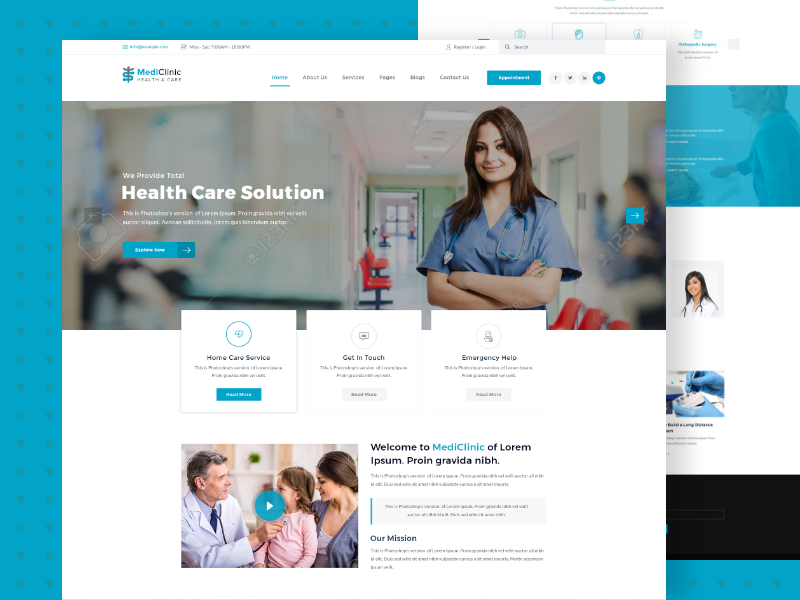 MediClinic Health and Care PSD Template Psd templates