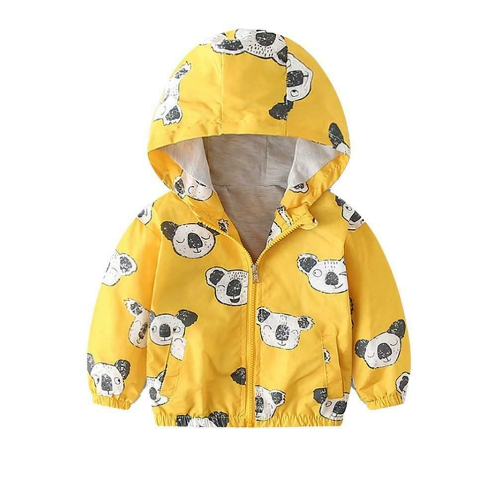 Summer Kids Girls Boys Children Casual Coat Hooded Jacket Tops Printed Outerwear