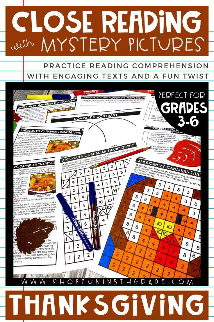 Thanksgiving Reading Comprehension Thanksgiving