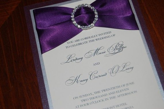 Eggplant Wedding Invitation Purple Brooch Elegant Invite Ribbon Sample