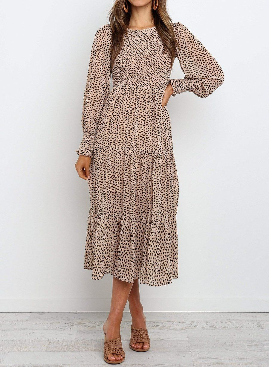 Round Neck Long Sleeve Tiered Midi Dress in 18  Beige dresses