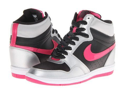 new style f0a4c 10404 Nike Force Sky High Sneaker Wedge Black Metallic Silver White Vivid Pink -  Zappos.com Free Shipping BOTH Ways