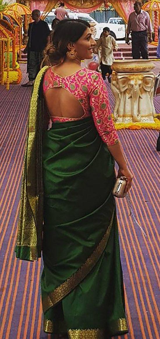 26cd37fc2d670 Silk Saree Blouse Designs - Contrast Blouse Design For Plain Pattu Sarees