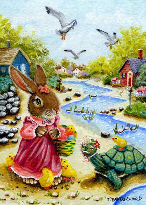 Rabbit Turtle Chicks Seagulls Easter Whimsy Landscape ACEO Original Art Painting #Realism