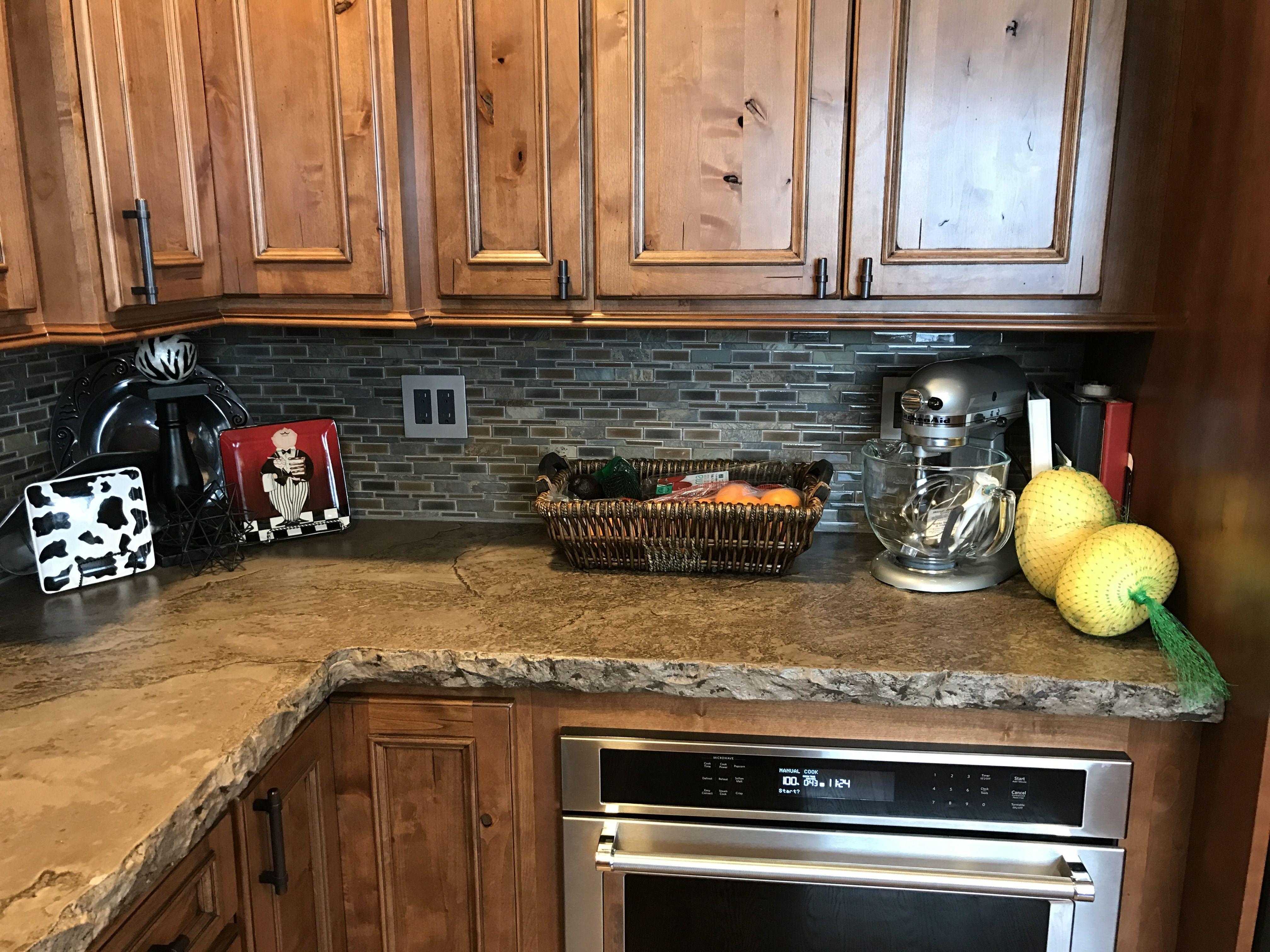 Concrete Countertops With Glass Backsplash Kitchen