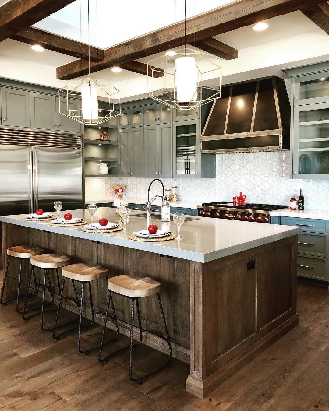 Beautiful Industrial Farmhouse Kitchen Featuring Our Silhouette Pendants Design Avrilinter Interior Design Kitchen Small Kitchen Design Kitchen Renovation