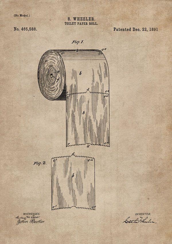 Original ritning för patenten på toalettpapper. | Art work blue ...