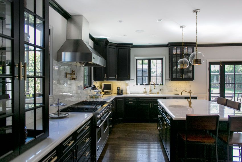 Black Kitchen Cabinets With White Marble Countertops amazing kitchen, black cabinets, glass cabinets, white marble