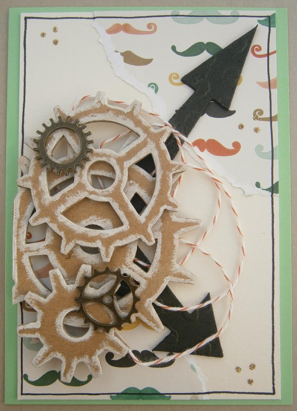 Karte mit Zahnrädern, Zeigern und Mustache (Schnurrbärte) in Creme und Bunt (Watercolor) - fertige Karte