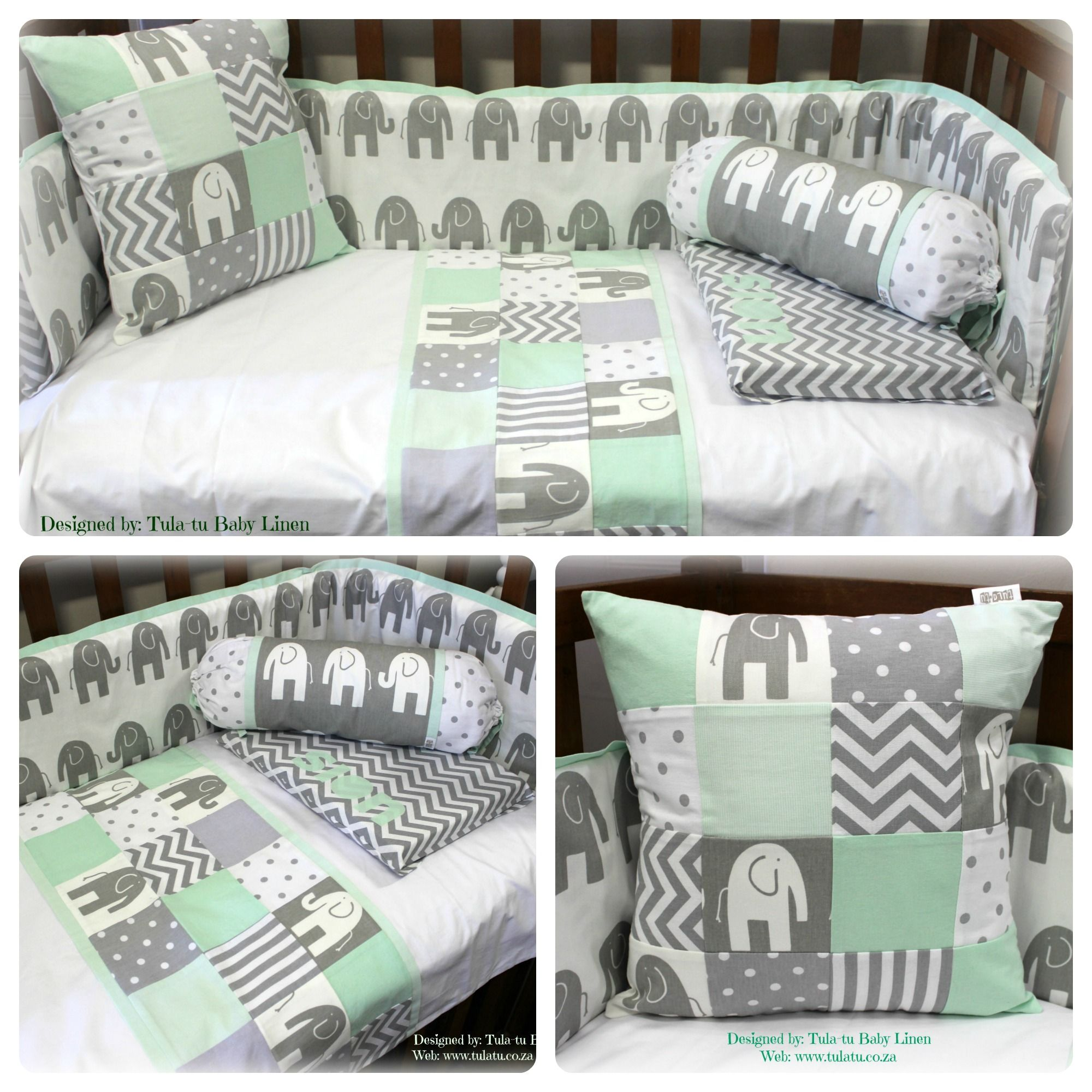 elephant theme baby linen in white, grey & mint. for more details