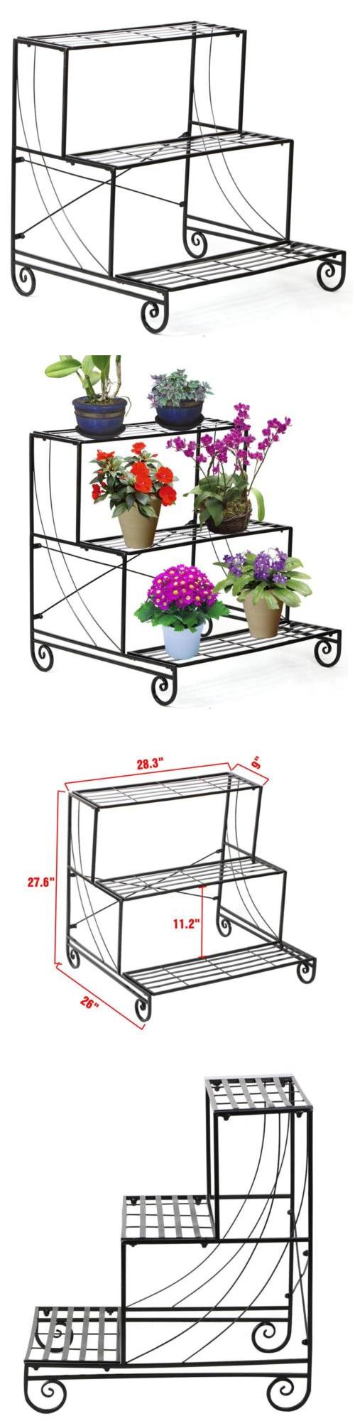 Plant Stands 29514: 3 Tier Metal Plant Stand Garden Decorative Planter  Holder Flower Pot Shelf