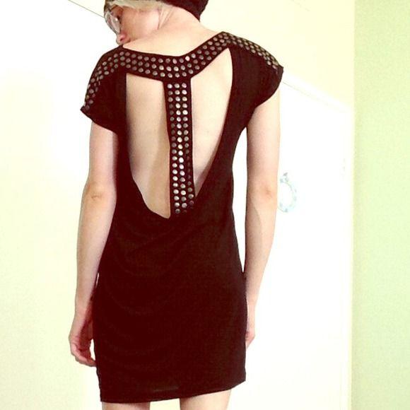 Growze open back black dress, with studded detail. Really cool black dress with open back and studed detail on the back. Size medium. Growze Dresses