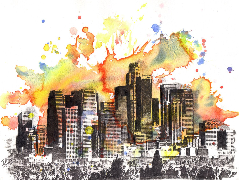 Los Angeles Skyline Landscape Painting Original 8 5 X 11 In Watercolor Painting 55 00 Via Etsy Skyline Painting Skyline Art Paintings Art Prints