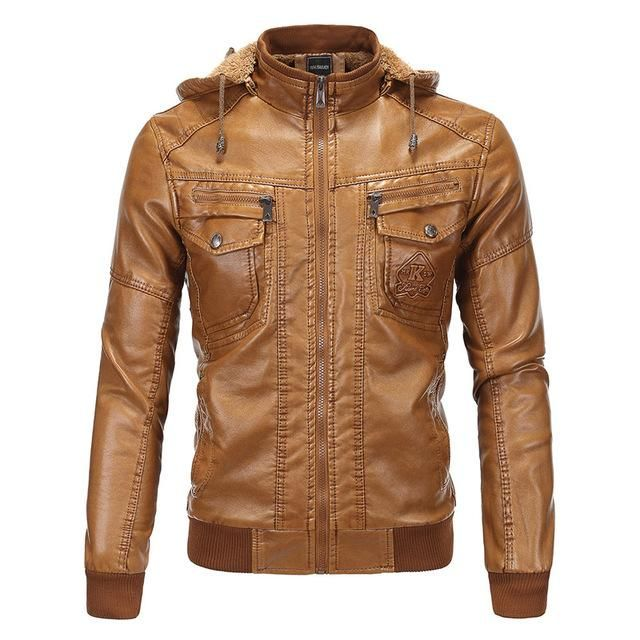 Winter Mens Brown Leather Bomber Jackets Hooded Warm Faux Sheepskin Motorcycle Quilted Leather Coats #leatherjacketoutfit
