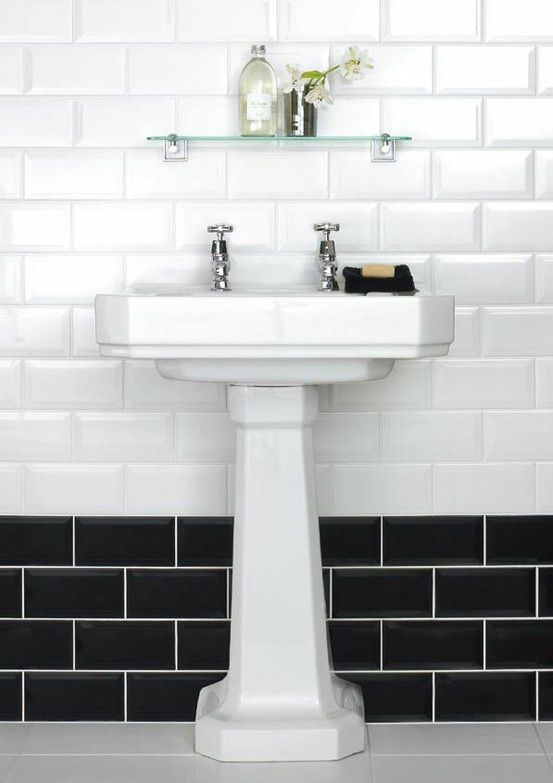 carreaux metro - Blanc/noir | Bath | Pinterest