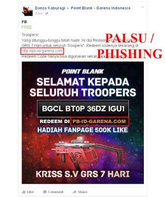 Awas Situs Phishing Situs Palsu Tukar Kode Redeem Code Pb Garena Indonesia Indonesia Website
