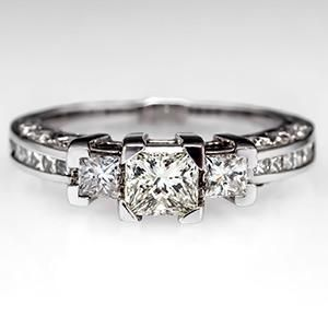 Princess Three-Stone Diamond Engagement Ring 14K White Gold - EraGem