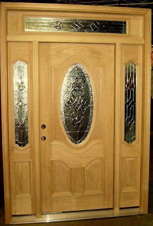 Front door with side lights.