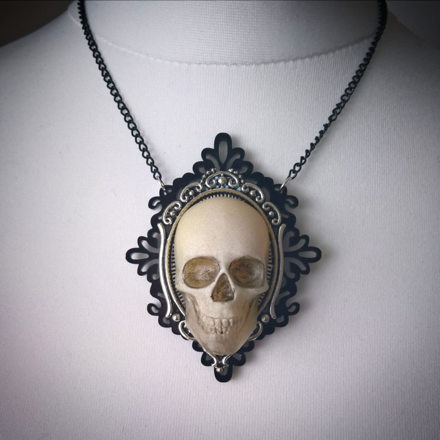Punk Choker Necklace Silver Necklace Punk One-Of-A-Kind Skull Necklace For Her Punk Jewelry Skull Jewelry Glass Pearl /& Chain Necklace