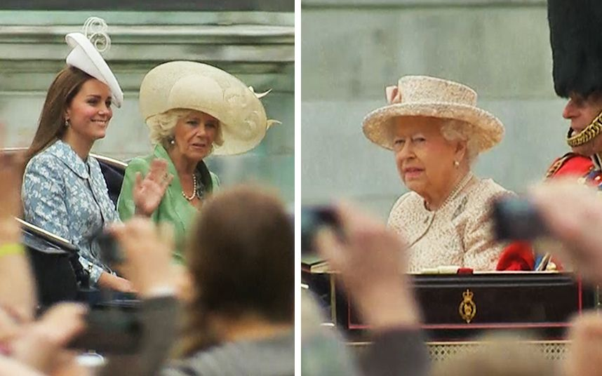 Watch as the Duchess of Cambridge and Her Majesty the Queen leave Buckingam Palace for the Trooping the Colour ceremony