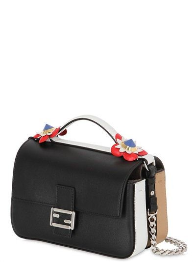 5d34803f7e FENDI - DOUBLE MICRO BAGUETTE LEATHER BAG Leather Shoulder Bag