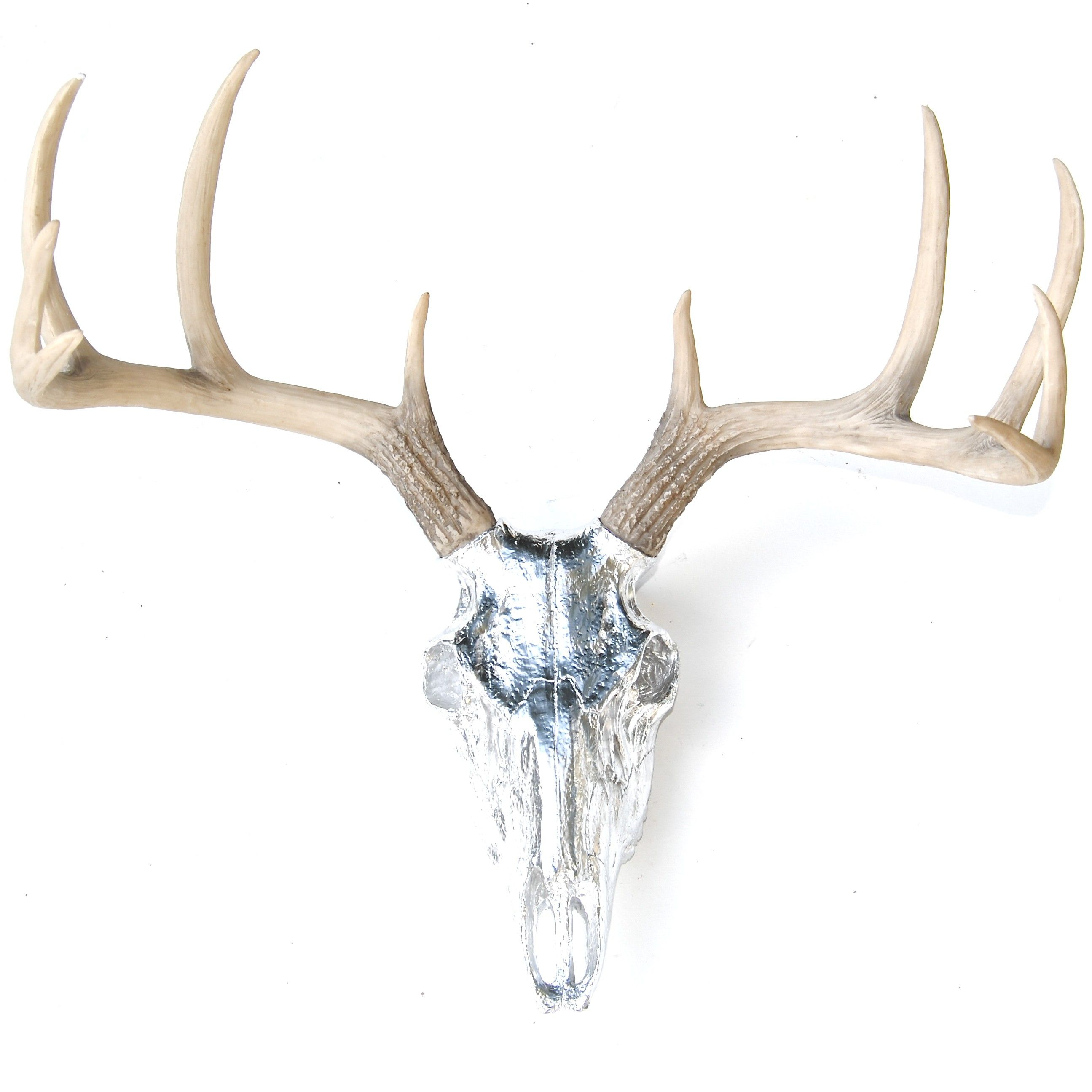 Faux Taxidermy   Chrome Deer Skull   Natural Antlers   Wall Mount With  BS1300 $89.99
