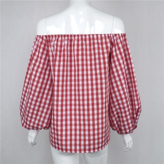 Red Plaid Pleated Off The Shoulder Boat Neck Long Sleeve Cute Blouse