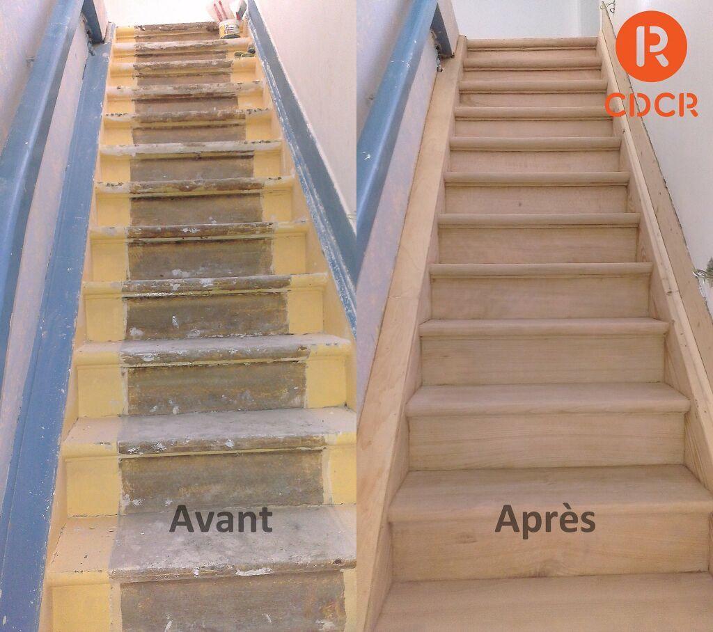 Avant Apres Decapage Aerogommage Et Poncage Escalier Hetre