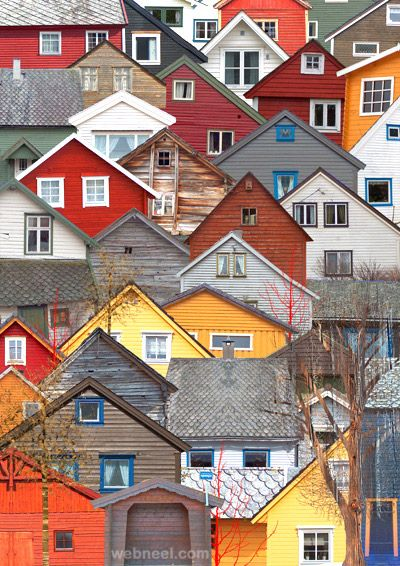 Colorful Houses Architecture Norway Places