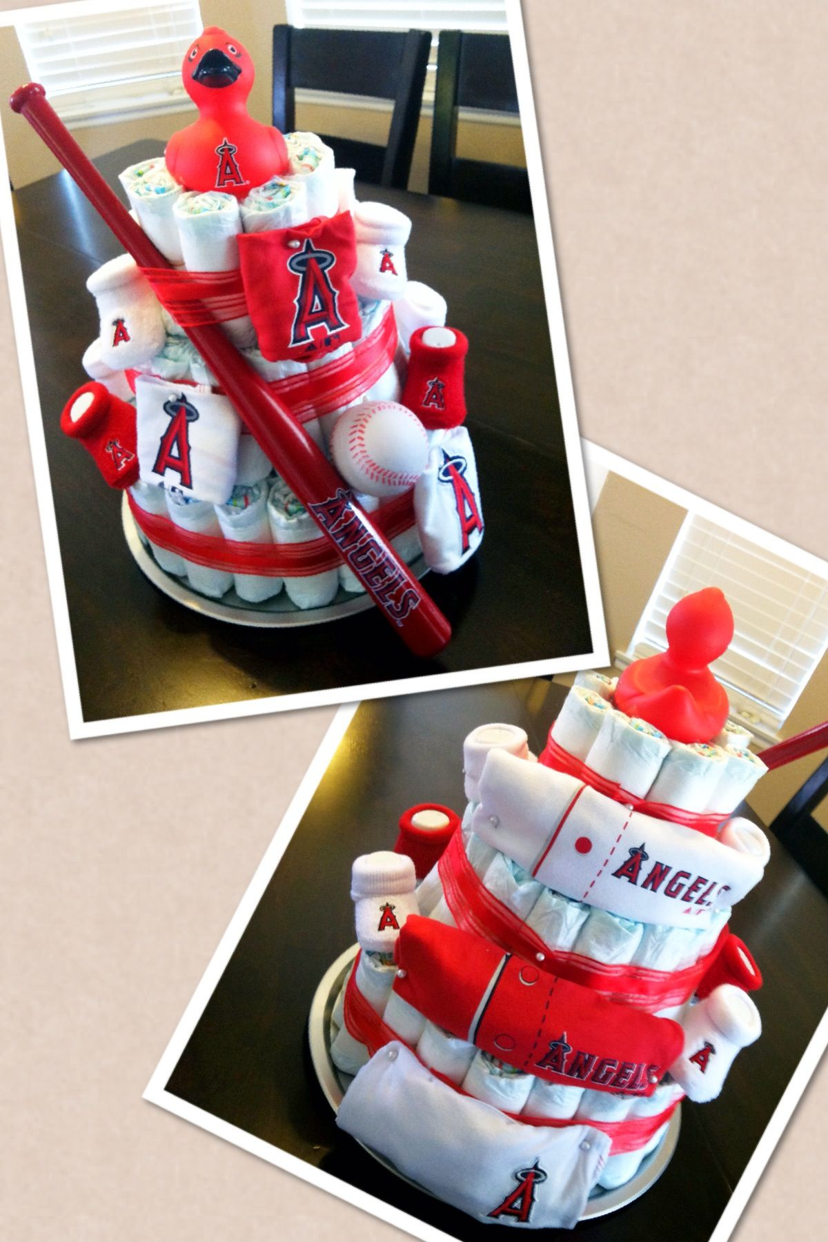 Angels Baseball Diaper Cake With Images Baseball Baby Shower