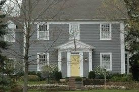 Image Result For Gray House Black Shutters Yellow Door