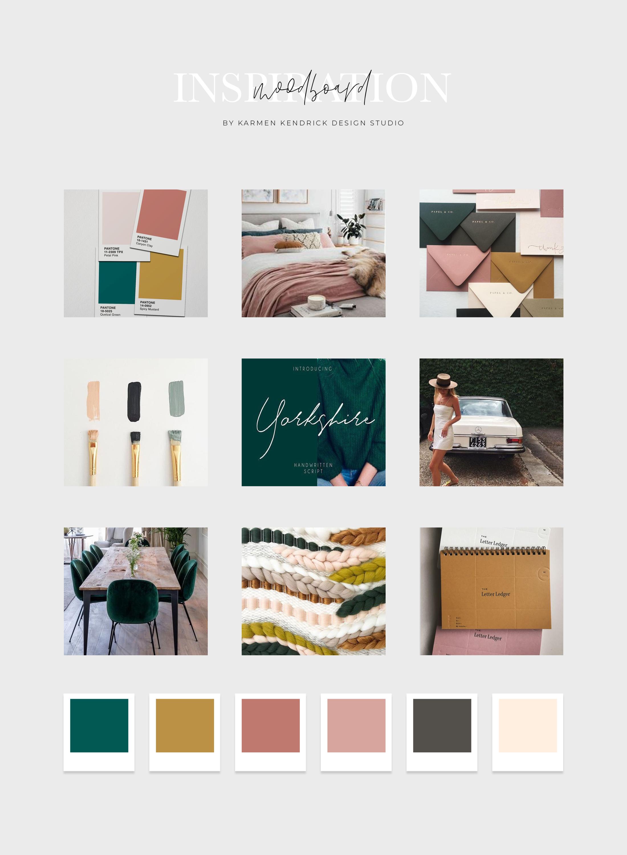 Website Design Strategy Support Karmen Kendrick Creative Business Colors Green Branding Mood Board Design