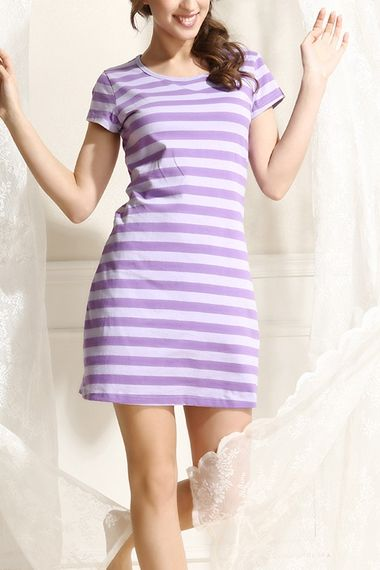Purple Striped O-neck Short Sleeves Sleep Tee