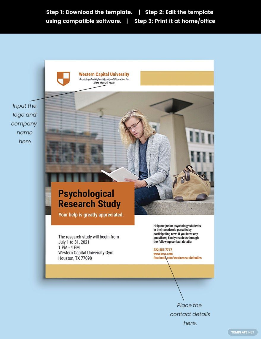 Research Study Flyer Template Illustrator Psd Word Doc Apple Mac Pages Research Studies Data Collection Special Education Social Stories Preschool