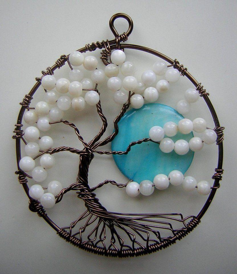 Twisted Árbol Blanco de vida con Luna * SOLD * por RachaelsWireGarden