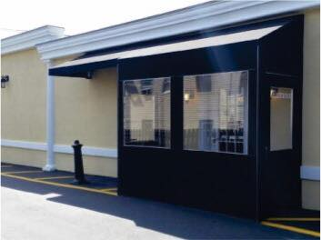 An Awning Can Be Added To Your Winter Vestibule Enclosure To Provide Additional Cover For Customers Waiting Restaurant Entrance The Door Is Open Outdoor Rooms