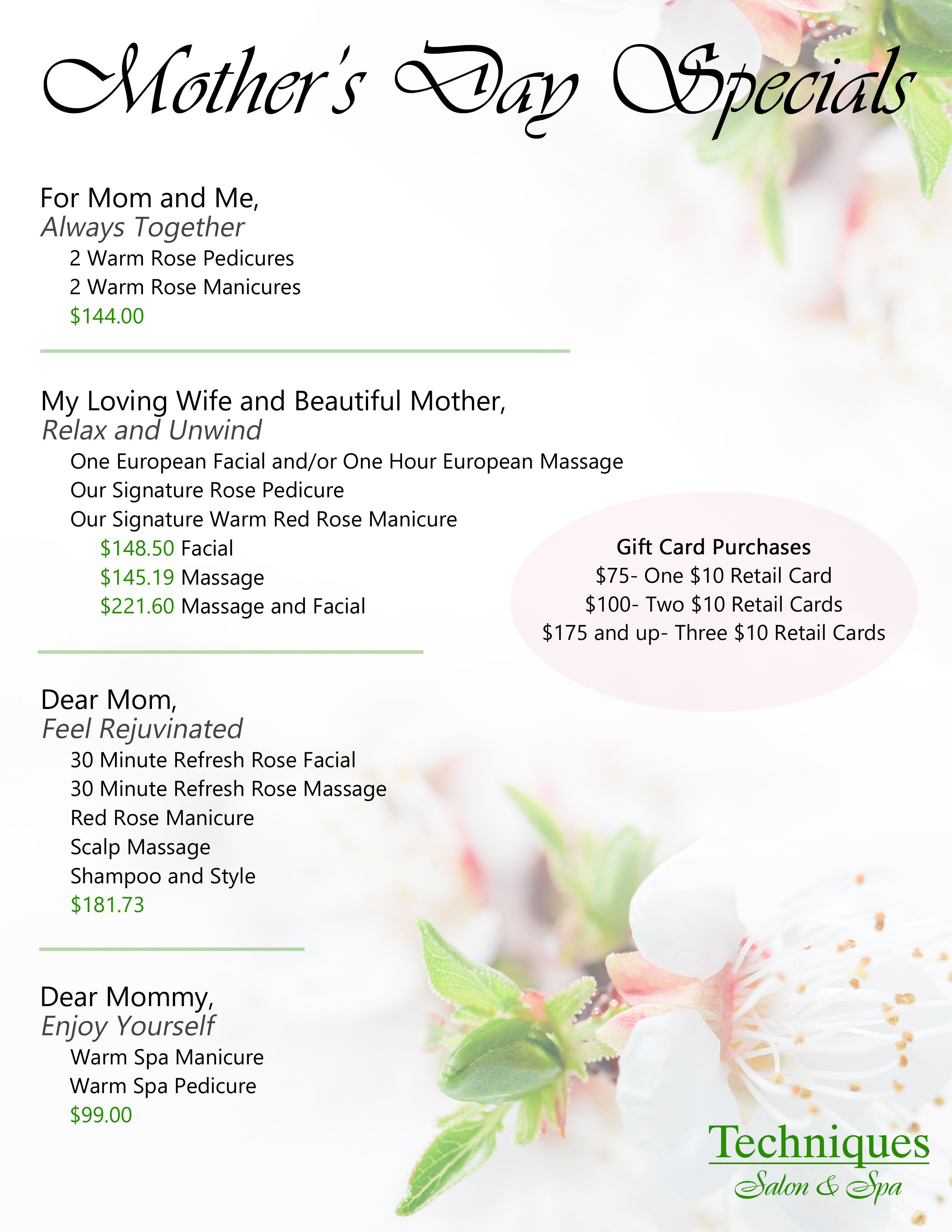 Stop In To Get Mom One Of Our Custom Packages For This Mother S Day You Only Have Until May 10th Facial Gift Card Mothers Day Special Holiday Promotions