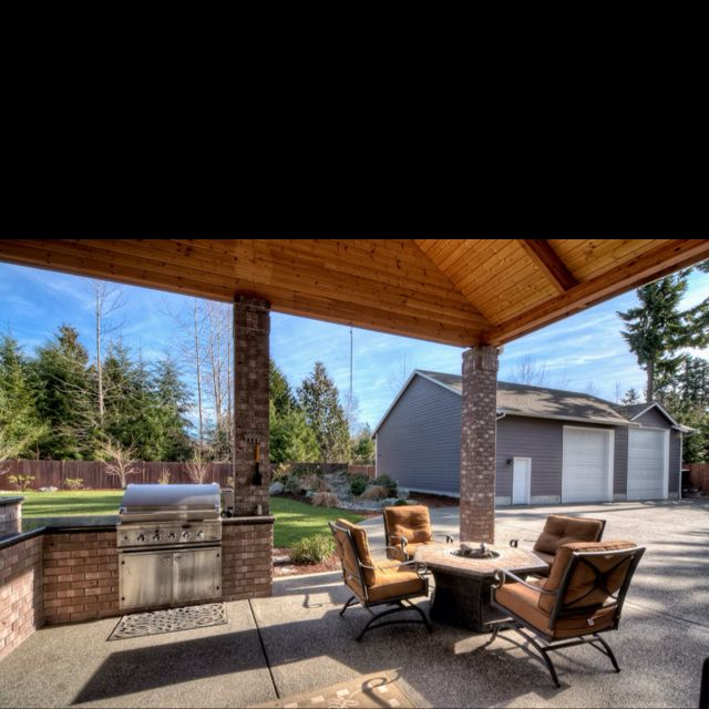Backyard Covered Patio With Built In BBQ Ideas For Eric