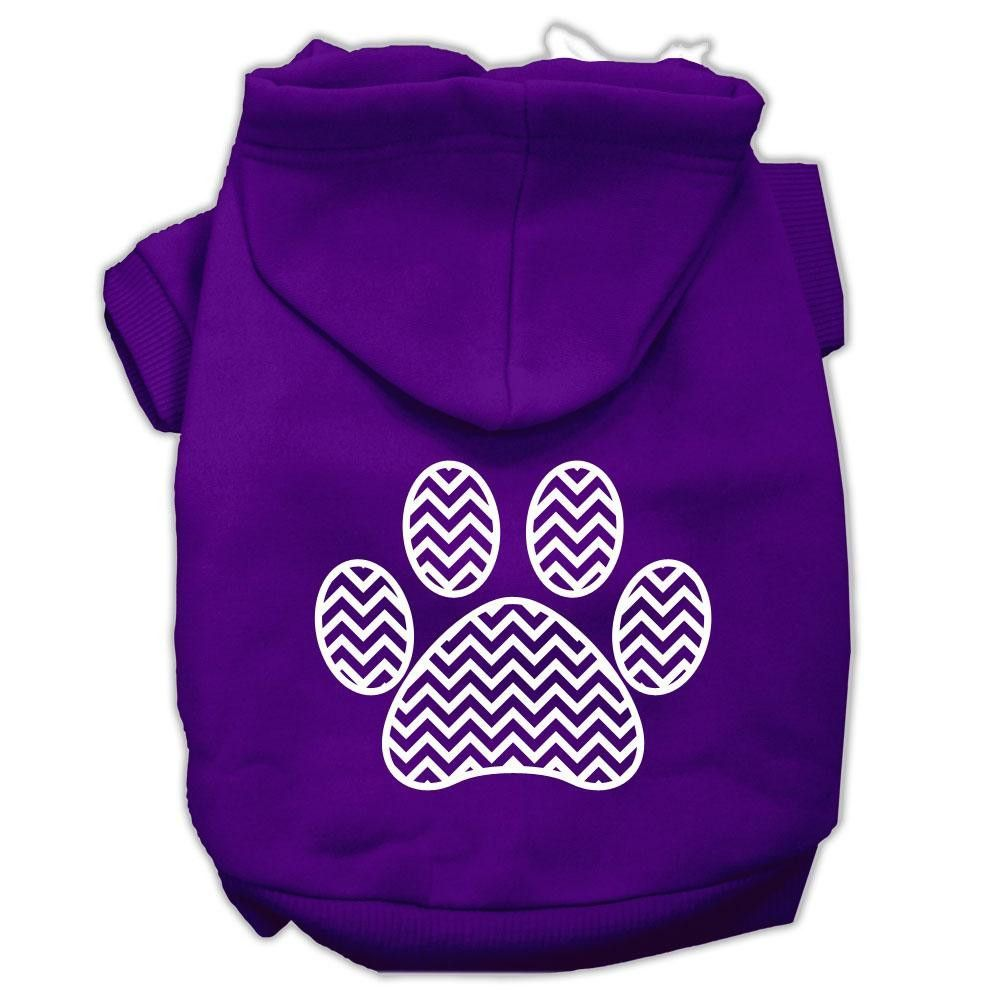Chevron Paw Screen Print Pet Hoodies Purple Size Lg (14)