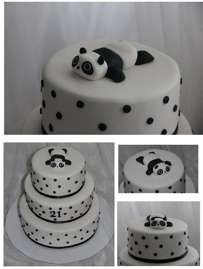 Black and white panda cake comida pinterest for Panda bear cake template