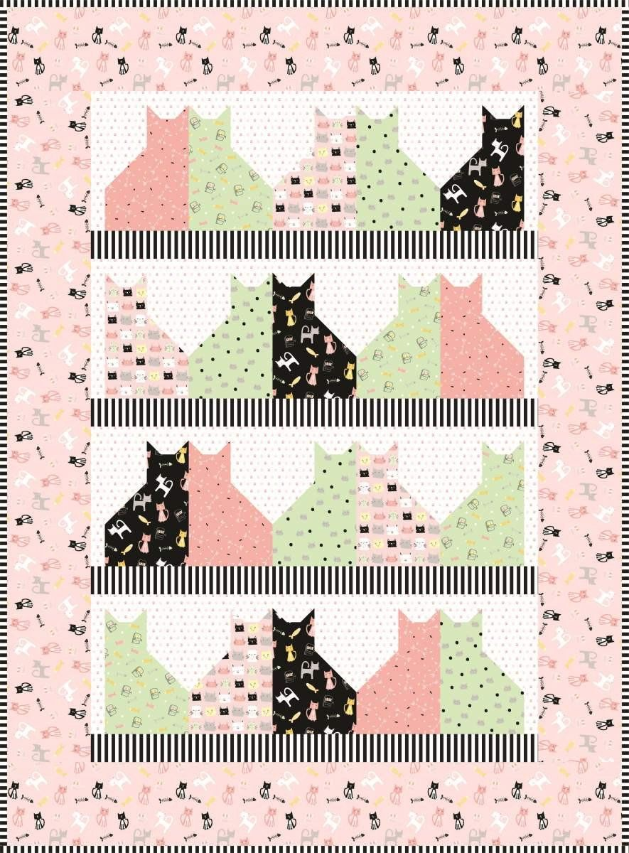 meow and forever quilt kit riley blake designs cats featuring meow and forever by my mind s eye pattern by villa rosa designs pattern  [ 885 x 1200 Pixel ]