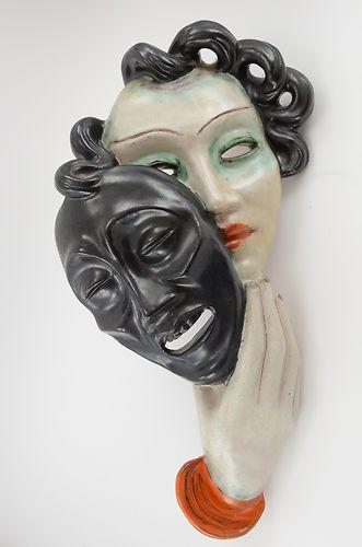 "Ceramic Wall Mask ""TRAGEDY"" By Goldscheider Wien Austria Art Deco 1920's | eBay"