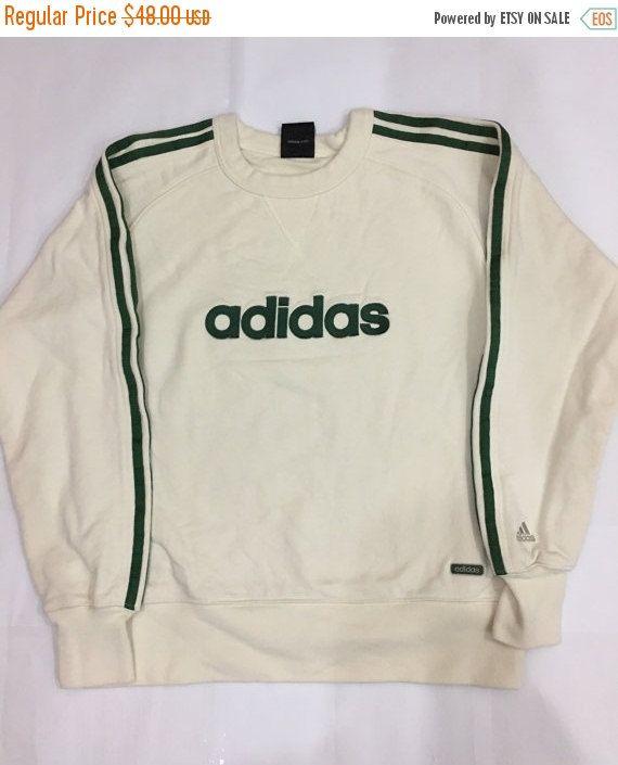 Vintage 90's Adidas Sweatshirt Spellout Green Jacket Sport Trainer ...